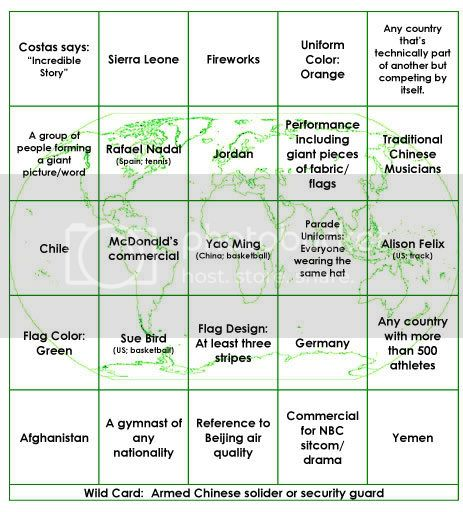 Green Bingo Card